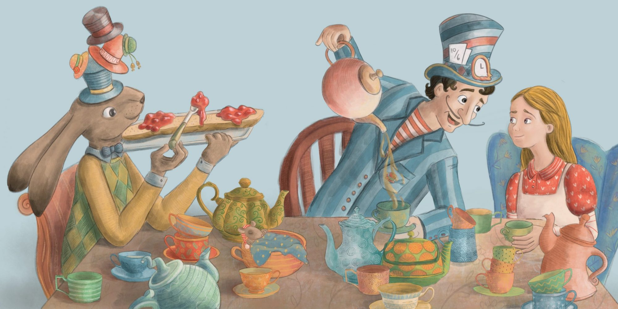 Alice at the Mad Hatter's tea party illustrated by Gabriella Vagnoli