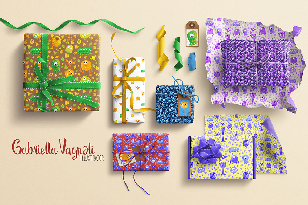 Monster wrapping paper mockup smaller